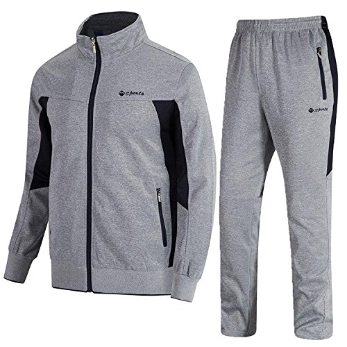 TBMPOY Men's 2 Piece Jacket & Pants Woven Warm Jogging Gym Activewear(Grey,US L)