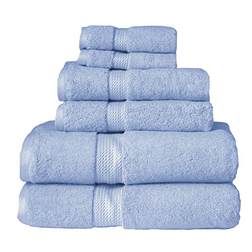 Superior Luxury Cotton Bath Towel Set - 6 Piece Towel Set, 900 GSM, Long-Staple Combed Cotton Towels, Light Blue