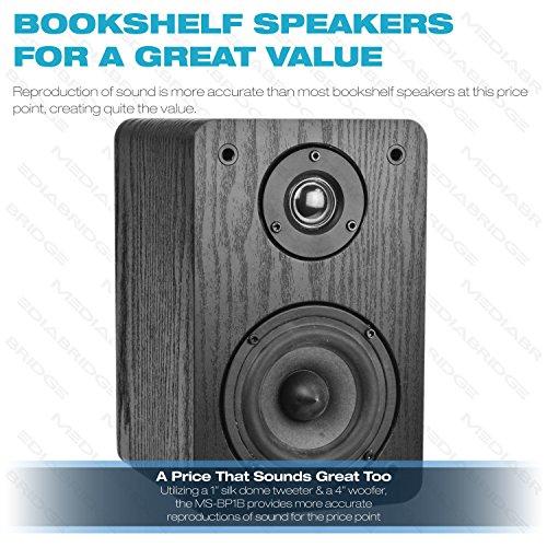 Mediabridge Bookshelf Speakers Pair With 4-Inch Carbon Fiber Woofer & 1-Inch Silk Dome Tweeter - Black Enclosure (Part# MS-BP1B) by Mediabridge (Image #1)