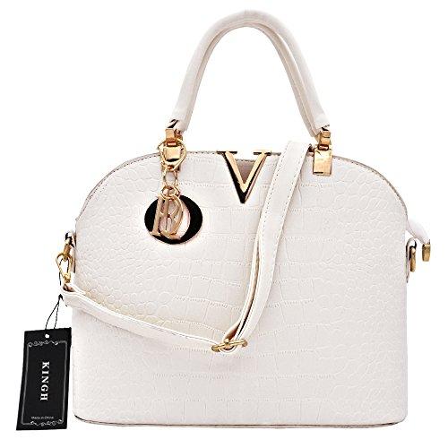 Women Handbag,Women Bag, KINGH Vintage PU Leather Bag Crocodile Pattern Shell Bag 149 White
