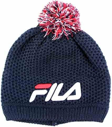 FILA Adult Unisex Textured Pom Beanie Knit Hat cc19e946b809