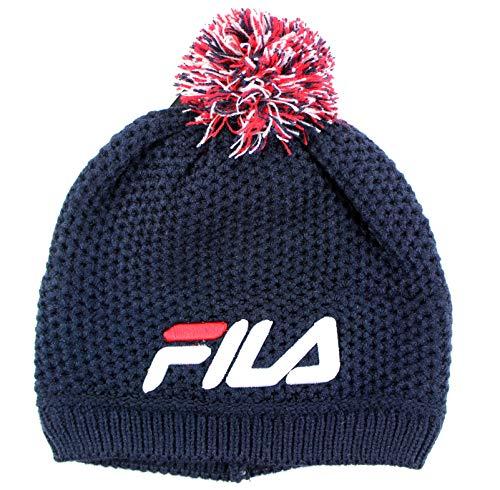 (FILA Adult Unisex Textured Pom Beanie Knit Hat (Navy))