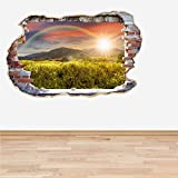 60 Second Makeover Limited Full Colour Rainbow Smashed Wall 3D Effect Living Room Bedroom Wall Sticker Decal Kids Bedroom Decoration Regular