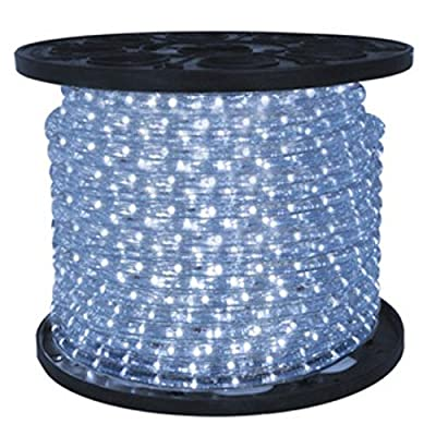 Queens of Christmas C-ROPE-LED-PW-1-10 Spool of LED Rope Light, 150', Pure White