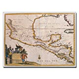 Map of New Spain 1625 by Bridgeman Library work, 18 by 24-Inch Canvas Wall Art