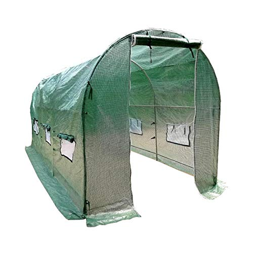 MTB Larger Walk-in Outdoor Gardening Tunnel Greenhouse with UV Resistant PE Cover, 15'x7'x7′ Green