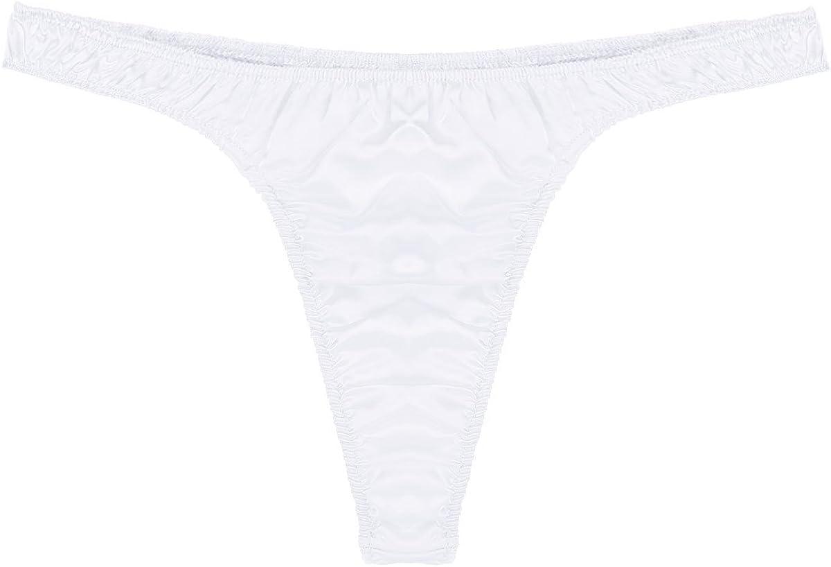 Yeahdor Mens Sissy Shiny Satin Ruffled Low Rise Bikini Briefs T-Back Thong Panty Underwear