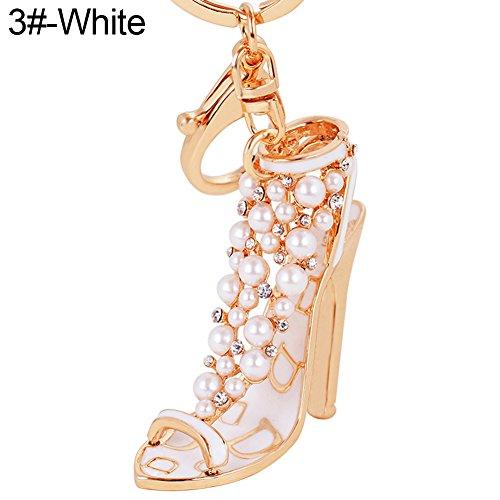 Fashion Shoe Pendant (Braceus Fashion Lady High Heel Shoe Pendant Shiny Rhinestone Alloy Bag Car Keychain (3#-White))