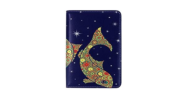 Zodiac Sign Aquarius Girl Leather Passport Holder Cover Case Travel One Pocket