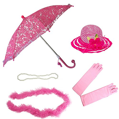 Girls Tea Party Hat Dress Up Set Hat Gloves Parasol Boa Necklace Natalie Bright Pink