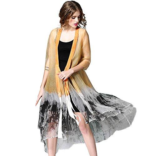 DIFANER Women's 3-Piece Sets Silk Long Maxi Dress for Sum...