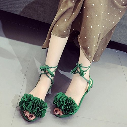Fheaven Women Tassel Flowers Flat Casual Beach Lace up Shoes Sandals Green B8NDSiWyxZ