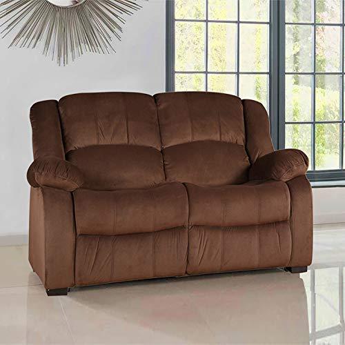 HomeTown Rhea Fabric Two Seater Sofa in Brown Colour