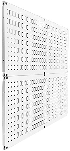 Wall Control Pegboard Rack Steel Pegboard Pack White Peg Boards – Two 32-Inch x 16-Inch White Metal Pegboard Panels by Wall Control (Image #1)