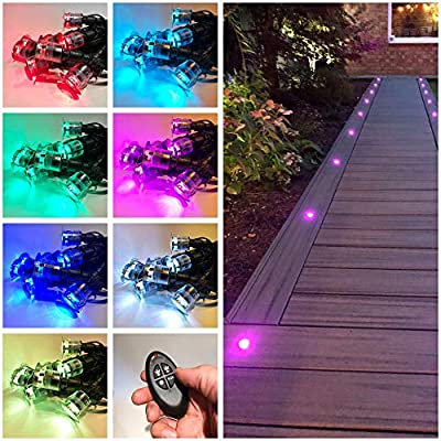 Zip-LED Deck Lights in Stainless Steel, 12V Low Voltage, Color Changing RGB, IP67 Waterproof, Indoor and Outdoor Home use in Bathrooms, Kitchens, Landscapes, Pathways, Stairs, Steps and Soffits