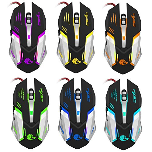 Alloet S100 Mechanical Wired Gaming Mouse 5,500 Adjustable DPI 6 Buttons (Black)