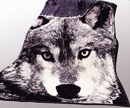 Wild Animal Wolf Print Blanket , Tv, Cabin, Couch, plush,warm, Bedcover Throw , Full Queen, 75 Inches W X 90 Inches H , Silky Mink Cozy, for Girls,boys, Kids,men,women Animal Print Blanket