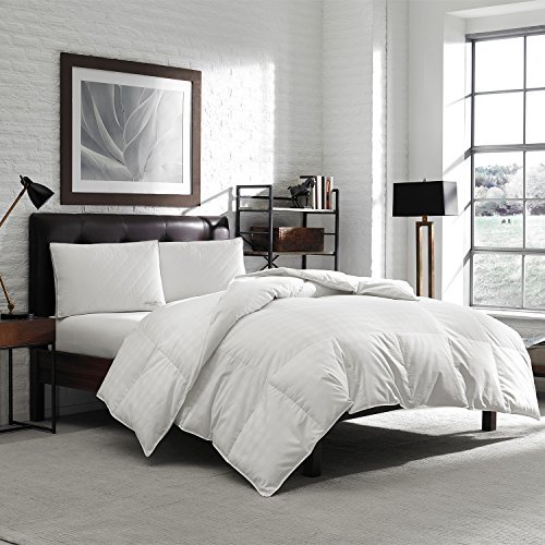 Luxury Eddie Bauer Hypoallergenic 650 Fill Power Lofty Down Comforter - 300 TC Damask Striped Cotton - Medium Warmth (Oversized King 106