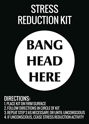 (Stress Reduction Kit Bang Head Here Wall Hanging Print Funny Directions Sign)