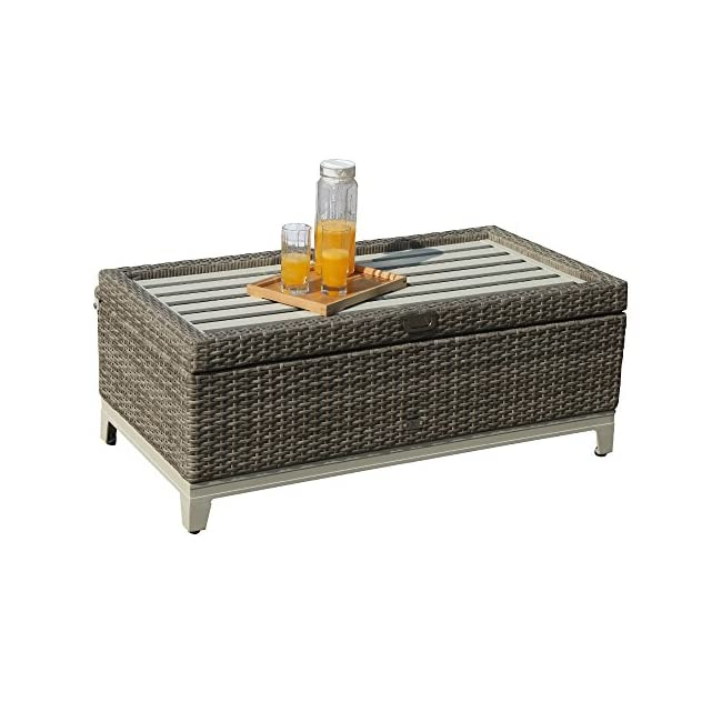 Magnificent Orange Casual Oc Outdoor Aluminum Frame Resin Wicker Storage Bench Box With Tea Table Function Seat Cushion Gray Rattan And Blue Cushion Cjindustries Chair Design For Home Cjindustriesco