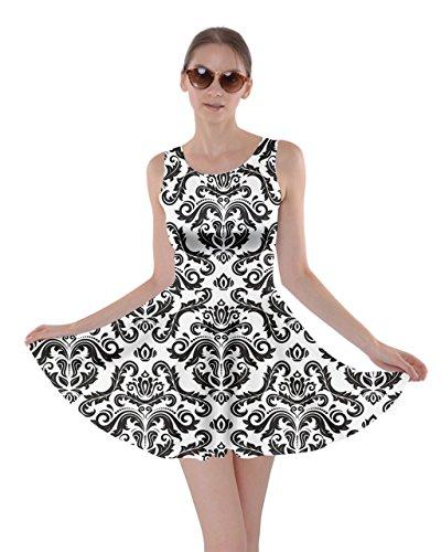 XS Womens Floral Skater Black 5XL Damask Black Dress Arabesque CowCow White Oriental gfnqOOW