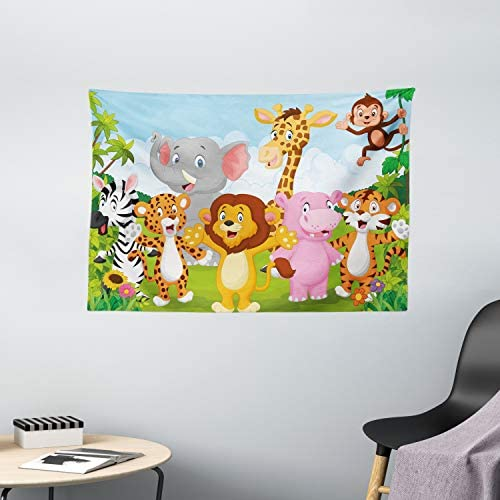 Ambesonne Nursery Tapestry, Comic Savannah Animals Playful Friendly Safari Jungle Happy Wildlife Nature, Wide Wall Hanging for Bedroom Living Room Dorm, 60 X 40 , Green Brown