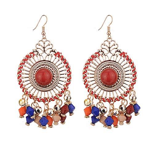 Bohemian Vintage Tassels Dangle Earring Fashion Boho Earrings for Women Girls Colorful Beige