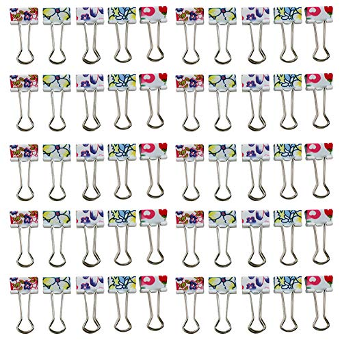 Z Zicome 50 Pack Colorful Printed Binder Clips, Small Size, 3/4-Inch
