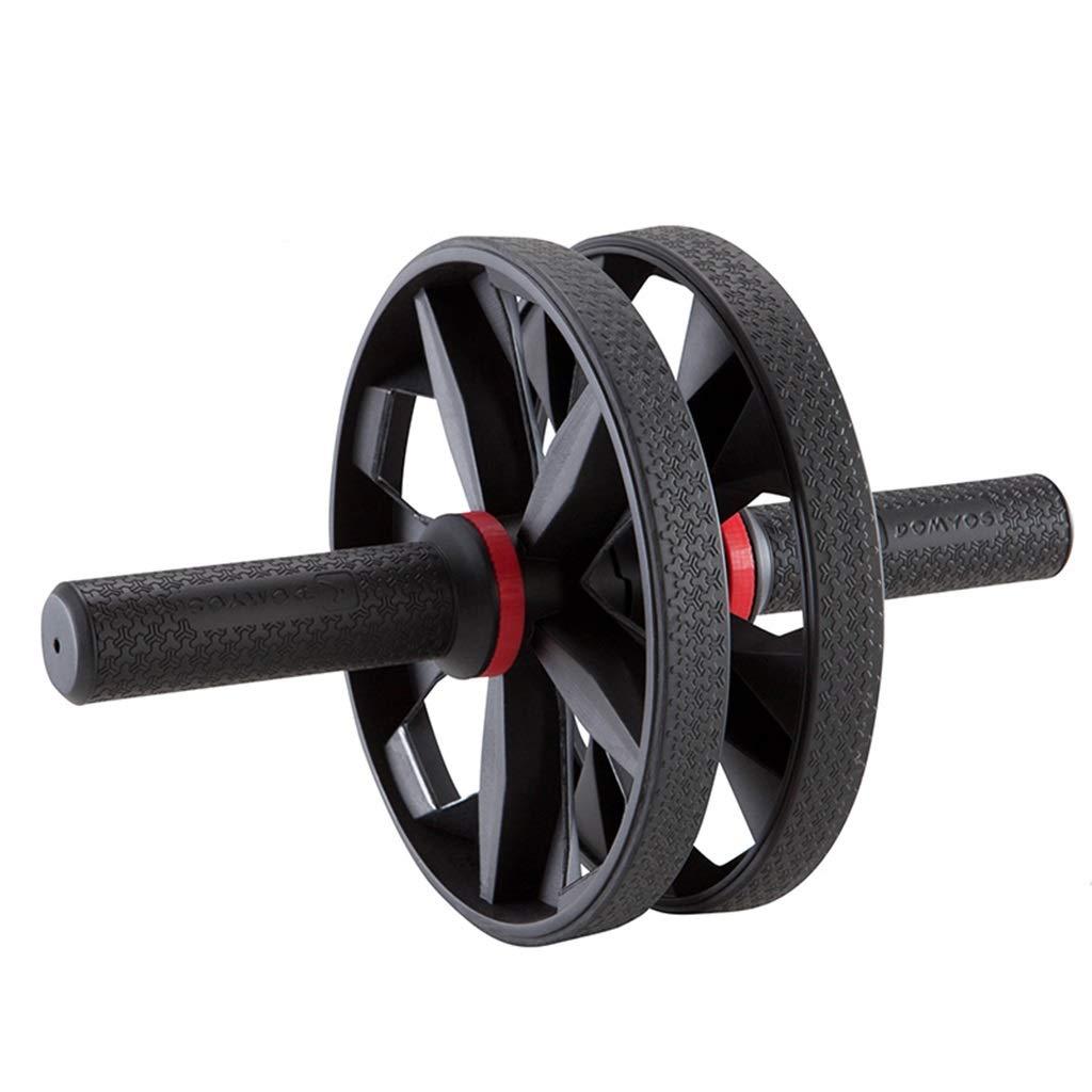腹部ホイールホームミュートフィットネス機器男性と女性ローラー腹筋トレーニングデバイス腹部 (色 : 黒)  黒 B07JR15PQ7