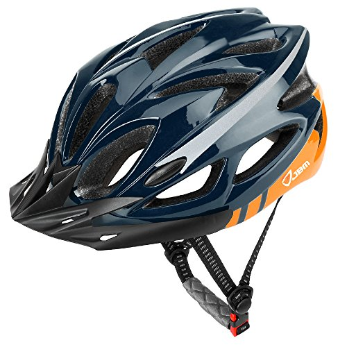 JBM Adult Cycling Bike Helmet Specialized for Mens Womens Safety Protection Red/Blue/Yellow (Dark Blue & Orange, Adult)