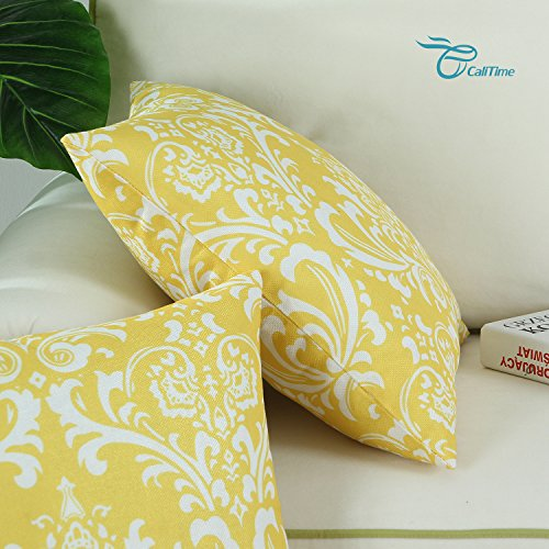 Pack of 2 CaliTime Soft Canvas Throw Pillow Covers Cases for Couch Sofa Home Decor, Vintage Solid Damask Floral, 18 X 18 Inches, Yellow