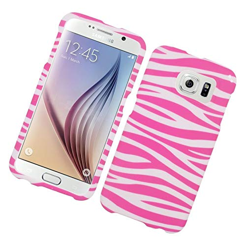 Insten Zebra Rubberized Hard Snap-in Case Cover Compatible with Samsung Galaxy S6 SM-G920, Pink/White