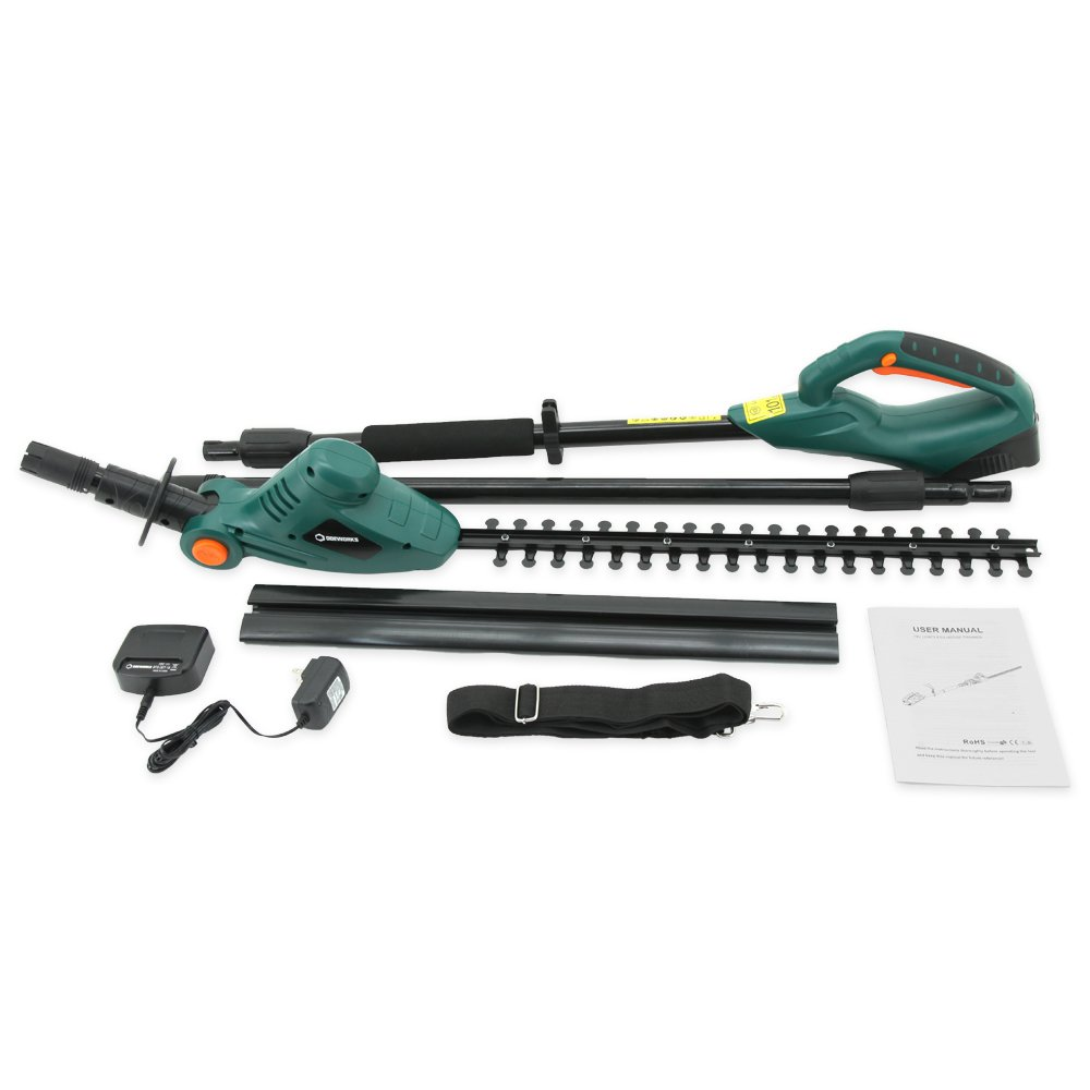 """DOEWORKS 20V Li-ion 2 in 1 Multi-Angle Battery Trimmer, Cordless Electric Pole Hedge Trimmer with 20"""" Blades, Battery & Charger Included"""