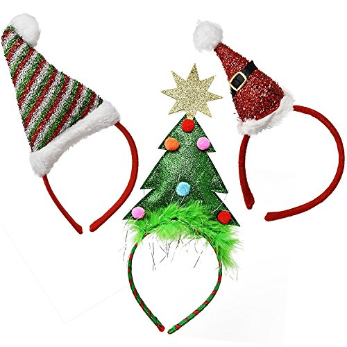 Gift Boutique Christmas Headband Holiday Head Boppers, Pack of 3 Santa Hat and Tree Party Favor Decor Supplies Accessories for Kids and Adults