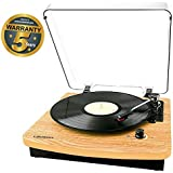 Lauson CL708 Record Player for Vinyl with Speakers | USB Turntable with Bluetooth | Lp | Vinyl To Mp3 Converter | Vinyl Player fro Three Speed | RCA | Natural Wooden