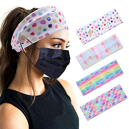 Sarfel Boho Headbands for Women Headbands with Buttons for Mask Nurses Bandannas for Head Wraps Elastic Hair Band