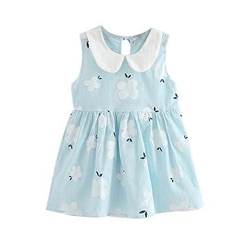 e60320b46 Amazon.com: Summer Baby Kids Girls Child Dresses Cuekondy Casual Cherry  Blossoms Sleeveless Party Wedding Princess Sundress Skirt (5-6T, Blue):  Beauty