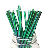 Ipalmay Olive Green Cocktail Paper Straws, Disposable Biodegradable, 7.75 inches, Pack of 100