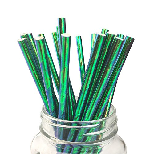 Ipalmay Olive Green Cocktail Paper Straws, Disposable Biodegradable, 7.75 inches, Pack of 100 by Ipalmay