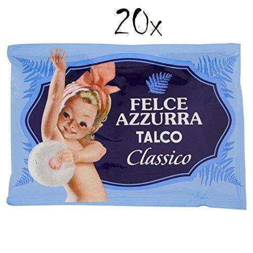 20x Paglieri Felce Azzurra TALCO Classico Poudre pour le corps TALC Poudre 100g Recharger et Robusta dans des sacs avec un arôme de Valve Saver, 1000g grains.