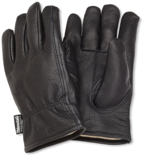 Carhartt Men's Insulated Full Grain Leather Driver Work Glove, Black, Medium