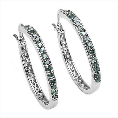 Bijoux Schmidt-Rare diamant bleu / Diamants Boucles d'oreilles ou Hoops-925 en argent sterling