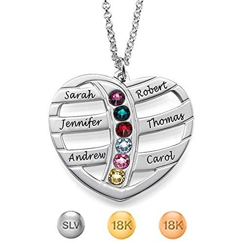 KIKISHOPQ Best Holiday Gift Heart Shape Custom Name Birthstone Necklace(silver 22)