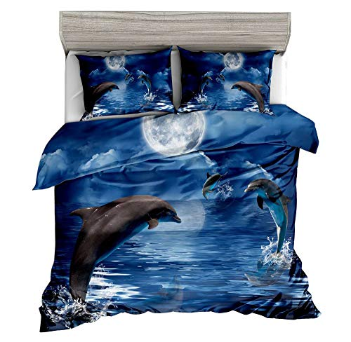 Jwellking 3D Dolphin Queen SizeKid's Bedding Set,Playful Dolphins Under The Night Sky Printed in Blue Duvet Cover Set.3pcs(1 Duvet Cover,2 Dolphin Pollow Shams),No Comforter Inside.