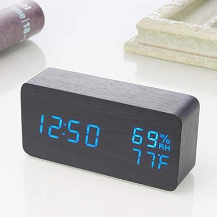 Amazon.com: Wood Alarm Clock Sound Control LED Alarm Clocks Wooden Despertador Temperat: Home Audio & Theater