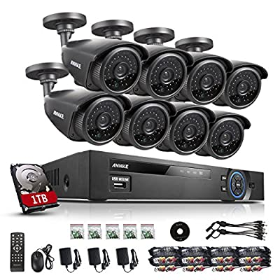 ANNKE 8CH Security Camera System 1080N DVR Reorder with 1TB Hard Drive and (8) HD 1280TVL Outdoor CCTV Cameras with IP66 Weather Proof and Motion Detection