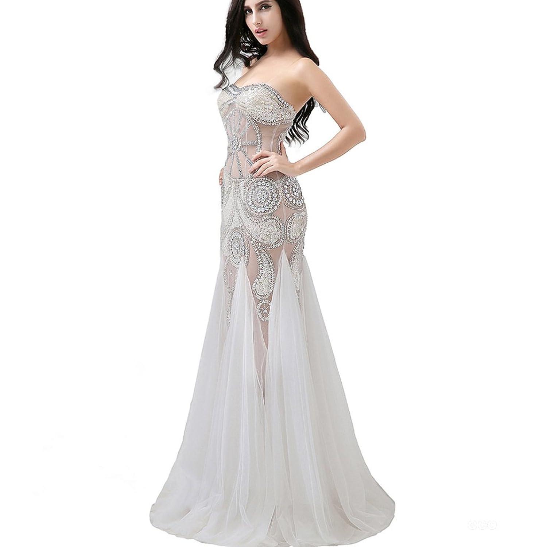 Clearbridal Women's White Tulle Sequin Strapless Prom Dresses AJ030