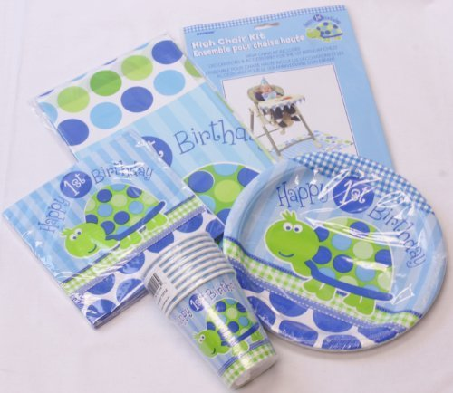 Boy's Turtle 1st Birthday Party Tableware Pack for 16 People - includes Cups, Plates, Napkins, Tablecover & High Chair Decoration Kit
