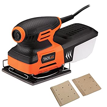 Tacklife PSS01A Classic Sheet Sander 2A 240W /15000 OPM with 12 pcs Sandpaper (6 Pcs X80 & 6Pcs x 180 Grits),Auto Filtered Dust Collection System For Home Decoration, DIY
