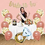 Rose Gold Bridal Shower Decorations 31PCS bachelorette gifts Bride To Be Banner,Sash,Tassel,12inch Rose Gold Confetti balloons bachelorette party supplies (Bride to be GOLD GLITTER BANNER)